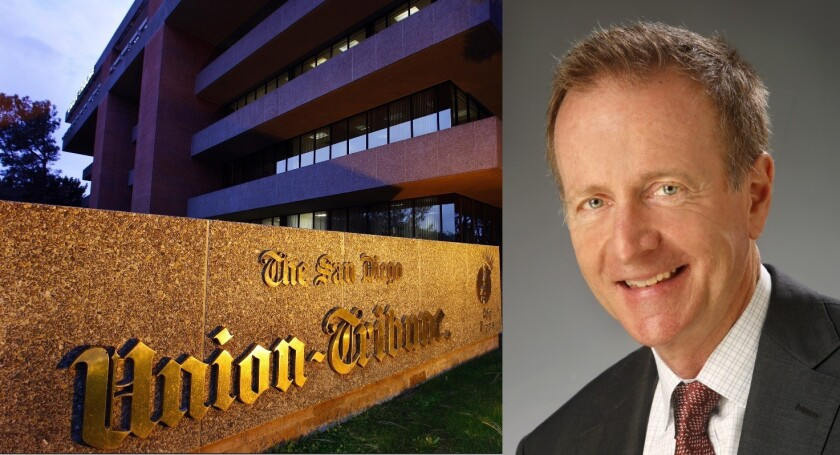 The San Diego newspaper headquarters, left, and Austin Beutner, right, who will serve as publisher of both papers and as chief executive of the newly formed California News Group.