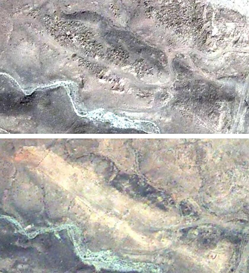 Satellite images from 2003, top, and 2009 show the demolition of the world's largest medieval Armenian cemetery in Djulfa, activists say.