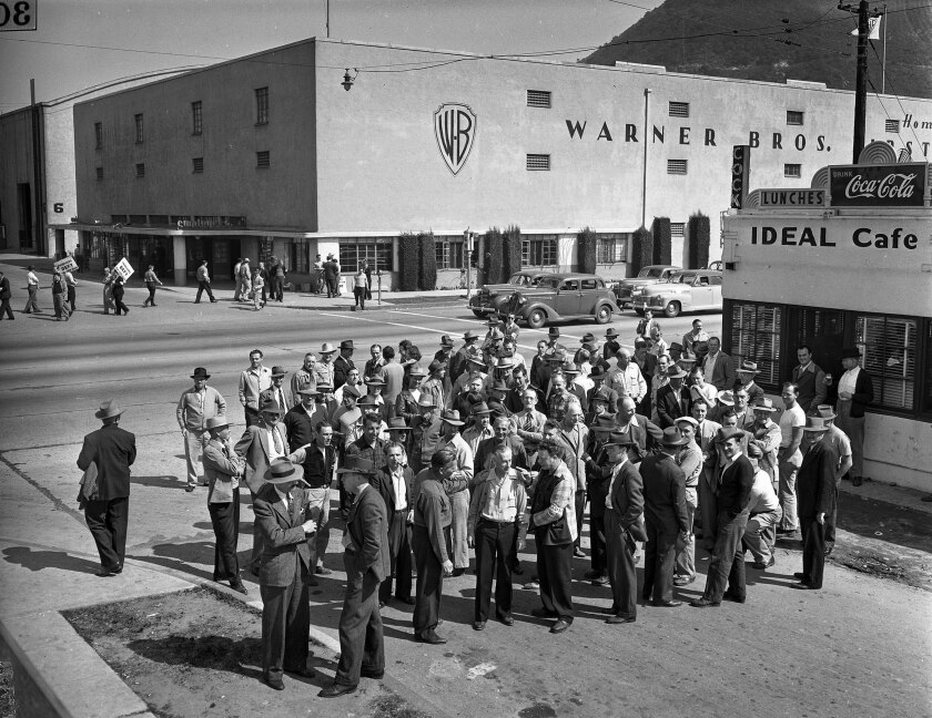 March 20, 1945:  Strikers meeting in front of the Ideal Cafe across the street from Warner Bros. Studio.