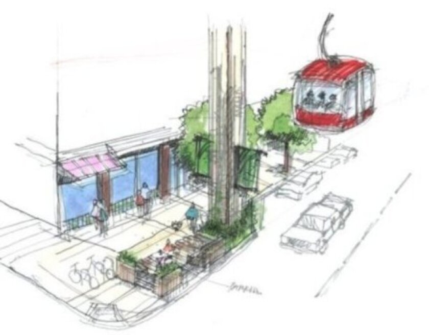 A Skyway tower would occupy a mini-park sidewalk extension at the intersection of every block between L Street in the Gaslamp Quarter to Ivy Street across from Balboa Park.