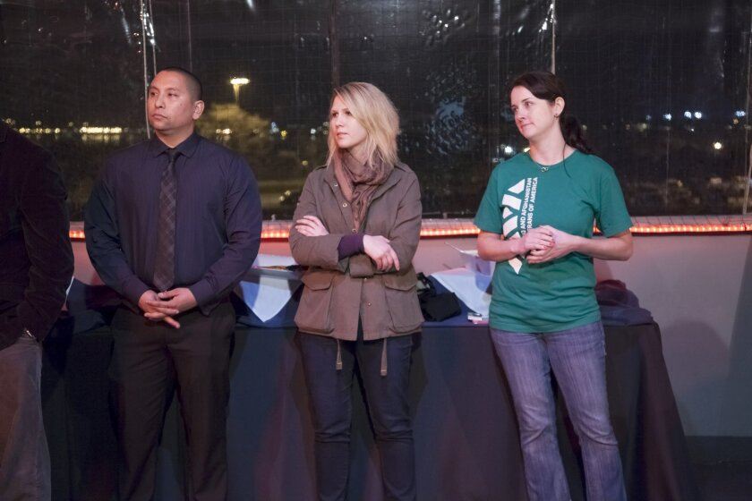 From the Iraq and Afghanistan Veterans of America (IAVA) Gerald  Skiles (cq, served in the USMC 2003-2009), Angela King (served in the U.S. Navy) and Tegan Griffith (cq, served in the USMC 2005-2009) host last nights event to highlight support programs available and to discuss critical issues faci