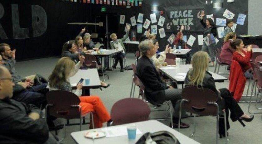 Parents participate in Quantum training at Del Mar Hills Academy.