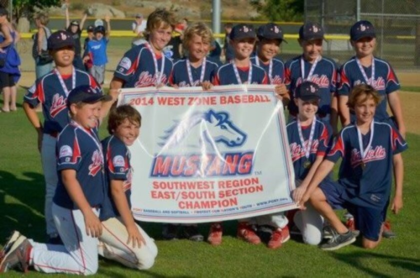La Jolla Youth Baseball's Mustang Red team are Section Champions. Front Row: Jordan Stahl, Nathan Latimer, Connor Hobbs and Jake Klimkiewitz. Top Row: Tony Ide, Jackson Stratton, Johnny Luetzow, Spence Carswell, Hunter Kates, Jake Bold and Christian Nava (Courtesy Photo)