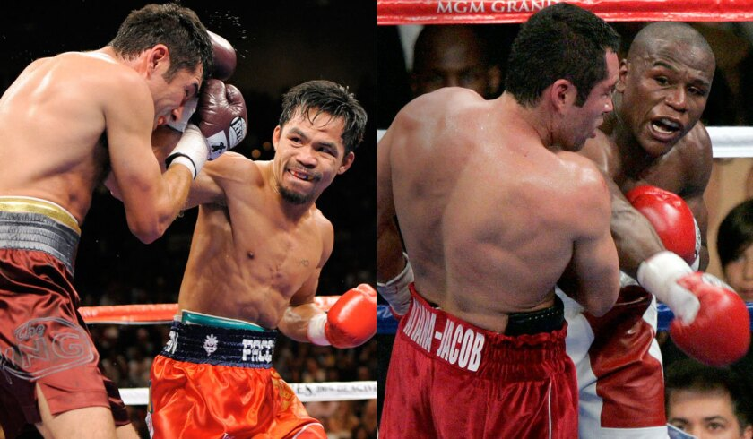Boxing great Oscar De La Hoya has fought against -- and lost to -- Manny Pacquiao, left, and Floyd Mayweather Jr.