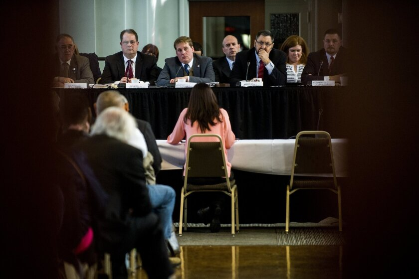 Dr. Mona Hanna-Attisha testifies during a meeting of Michigan's special Joint Committee on the Flint Water Public Health Emergency, Tuesday, March 29, 2016, at the Northbank Center in Flint, Mich. (Jake May/The Flint Journal-MLive.com via AP) LOCAL TELEVISION OUT; LOCAL INTERNET OUT; MANDATORY CREDIT