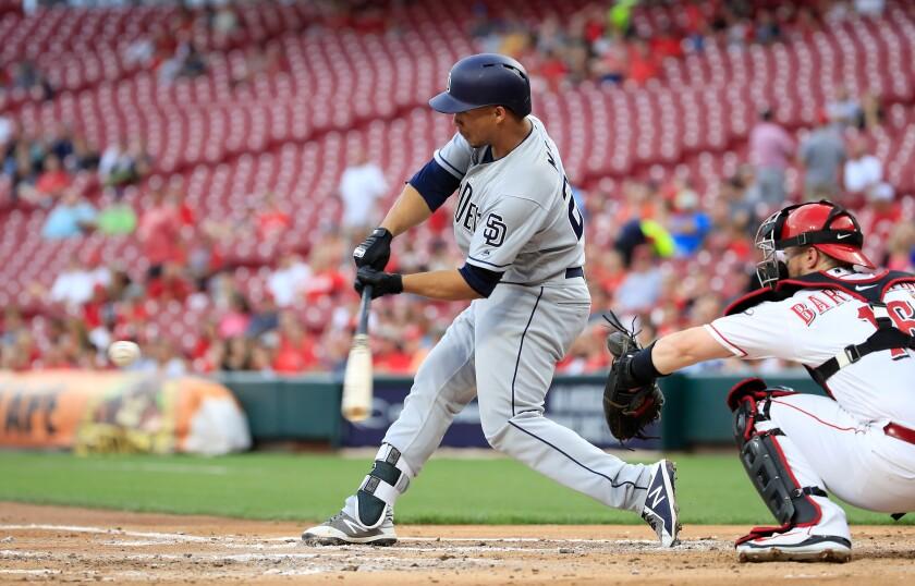 Francisco Mejia hits his second home run off Reds starter Luis Castillo on Sept. 6 in Cincinnati.