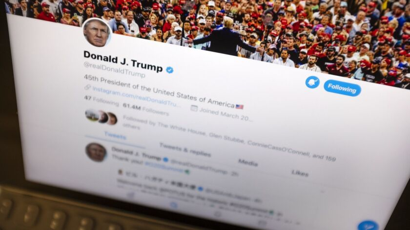 President Donald Trump's Twitter feed is photographed on an Apple iPad in New York, Thursday, June 2