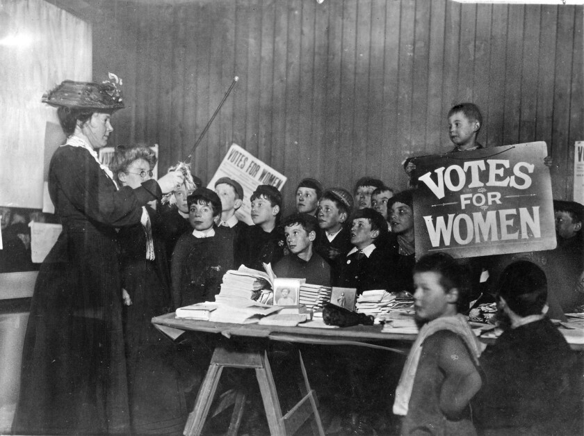 "School children learn the suffragette ""war song"" around the start of the 20th century."