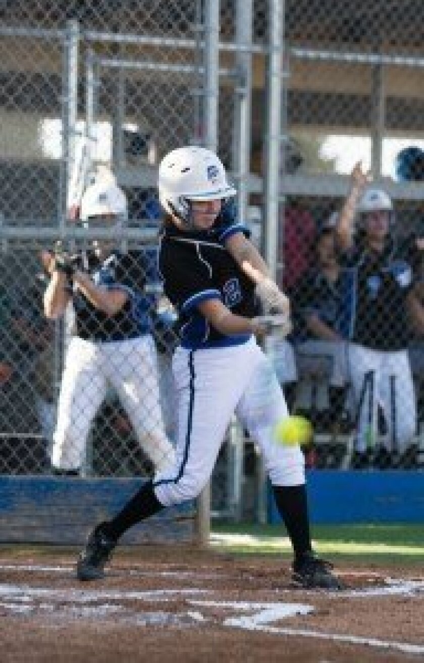 La Jolla Country Day School's Samantha Moothart takes a cut at the plate in the game against Canyon Crest.  Ed Piper