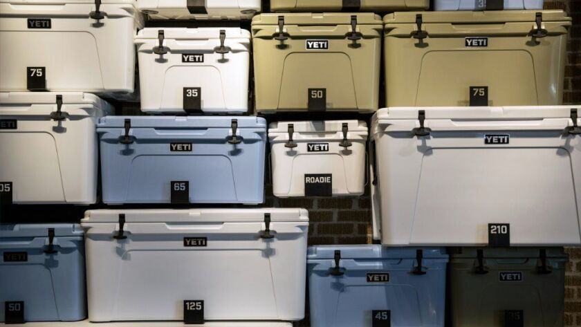 Yeti coolers are arranged on a wall at the company's flagship store in Austin, Texas.