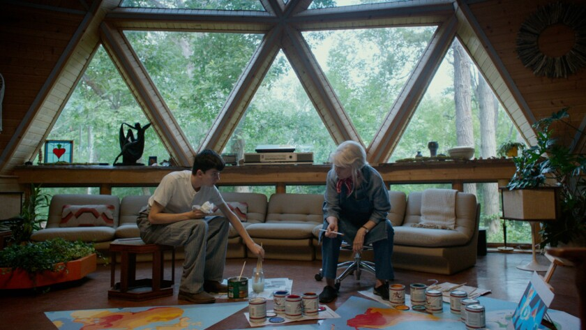 """Asa Butterfield and Ellen Burstyn in the movie """"The House of Tomorrow."""""""