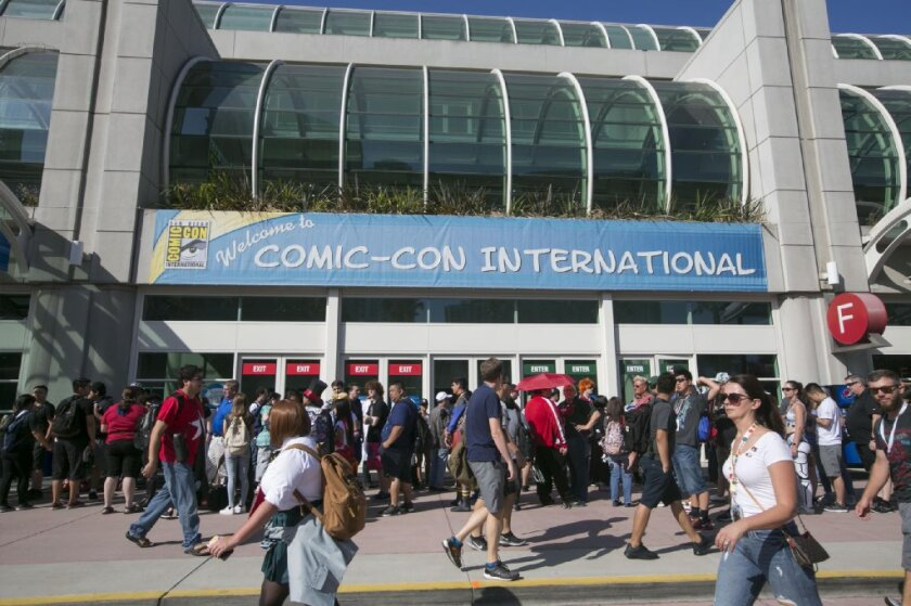 The Convention Center dressed in Comic-Con signage, on Day 1 of Comic-Con 2018 in San Diego.