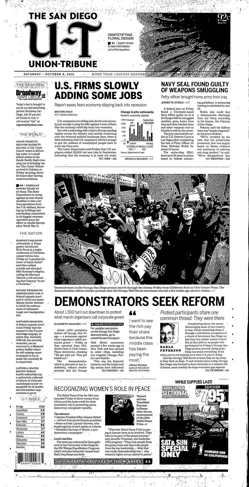 Front page of U-T San Diego, Oct. 8, 2011.