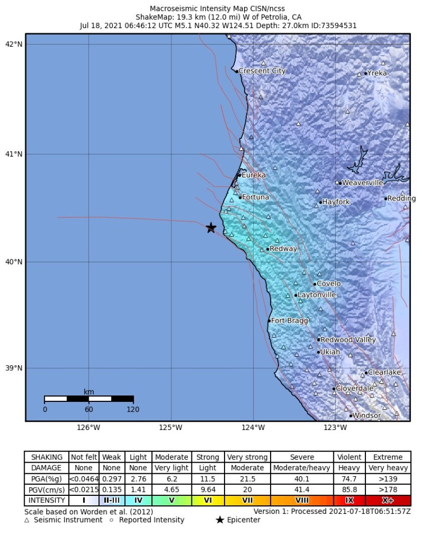 A map showing the epicenter and shake intensity of a magnitude 5.0 earthquake offshore from Fortuna, Calif.