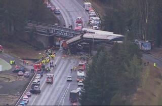 Amtrak train derails over I-5 in Washington state