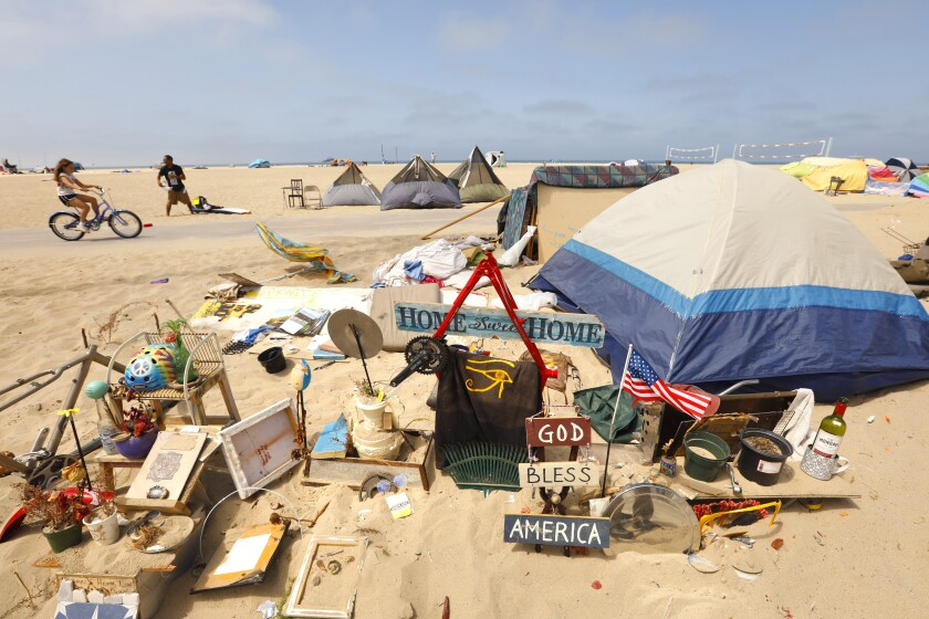 Tent and person's belongings on Venice Beach