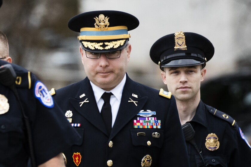 Army Lt. Col. Alexander S. Vindman, who is assigned to the National Security Council, arrives Tuesday to testify in the impeachment inquiry.