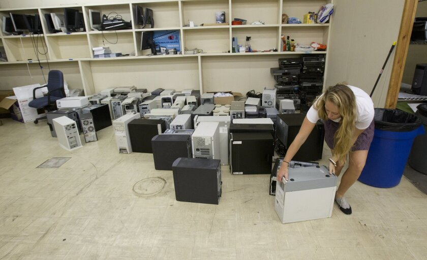 The University of San Diego recently opened an e-waste collection center on Linda Vista Road. It's one of many places around the region where residents can drop of old electronics for recycling.