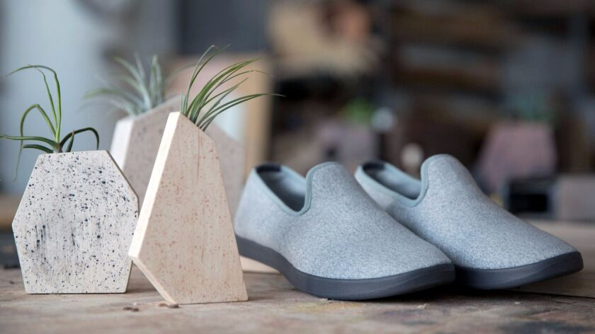Allbirds and Boyce Studio limited-edition wool Lounger with dark gray sole, $95 and paint-splattered