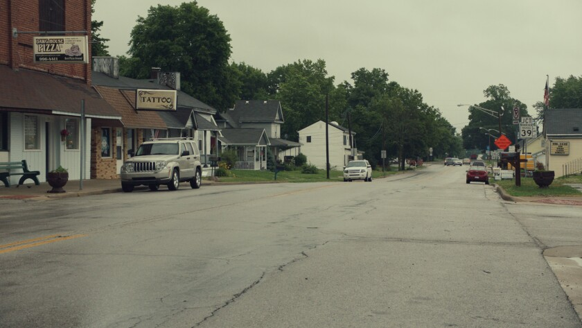 """A photograph of Main street from the movie """"Monrovia, Indiana."""" Credit: Zipporah Films"""