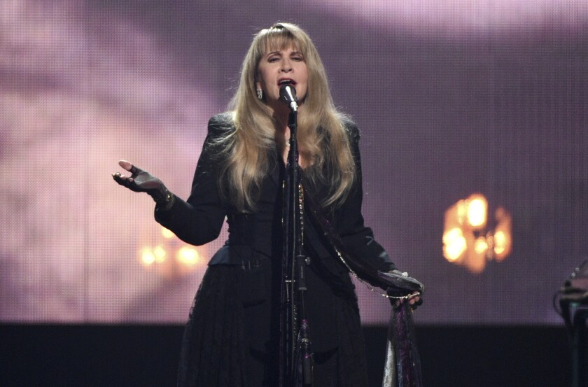 Stevie Nicks performs at the Rock & Roll Hall of Fame induction ceremony.
