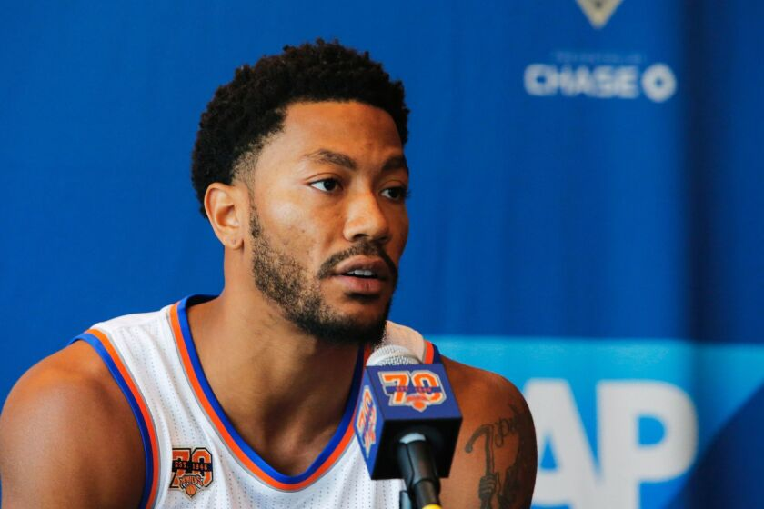 Derrick Rose speaks during a news conference last month during the New York Knicks Media Day.
