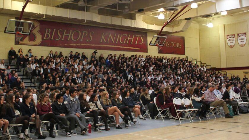 Students fill The Bishop's School gymnasium to hear U.S. poet laureate Juan Herrera.