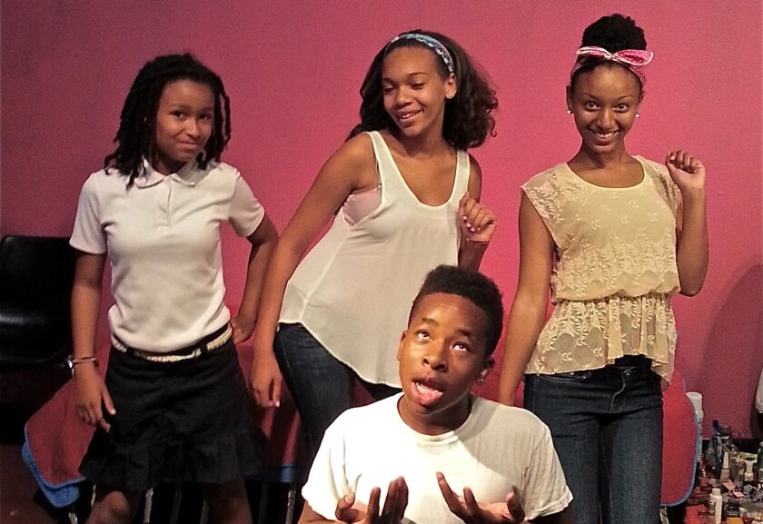 """The cast of """"Three Crazy Girls and One Stink Boy"""" at Community Actors Theatre."""