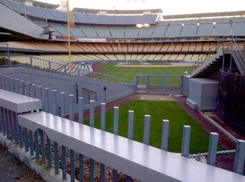 A view from above the visiting team's bullpen at Dodger Stadium.