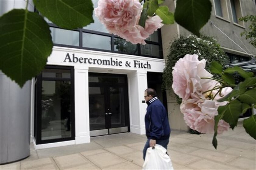 FILE - In this Tuesday, May 17, 2011 file photo, the exterior of an Abercrombie & Fitch store is shown in Palo Alto, Calif. A federal judge in San Francisco ruled Monday, Sept. 9, 2013, that trendy clothing retailer Abercrombie & Fitch wrongly fired a Muslim worker who insisted on wearing a head scarf. (AP Photo/Paul Sakuma, File)