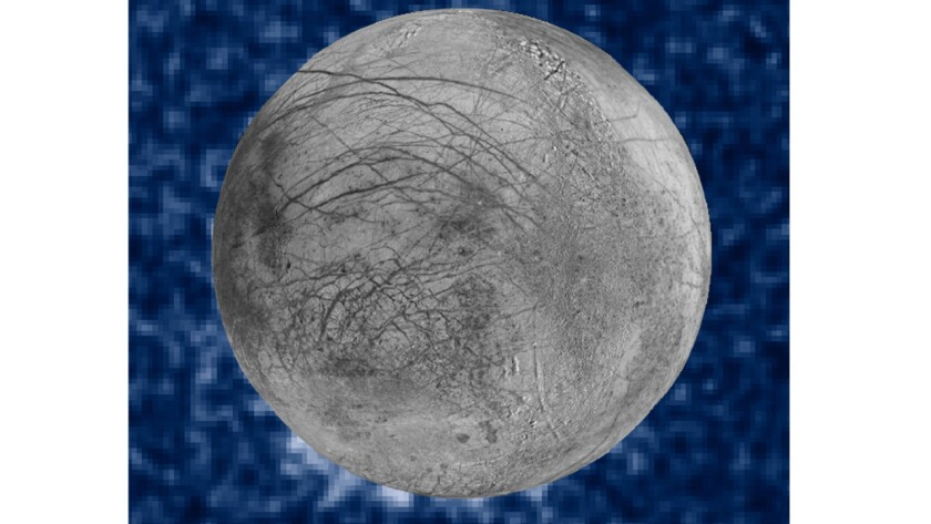 Suspected plumes of water vapor erupt at the 7 o'clock position off Jupiter's moon Europa. The plumes were seen in silhouette as the moon passed in front of Jupiter.