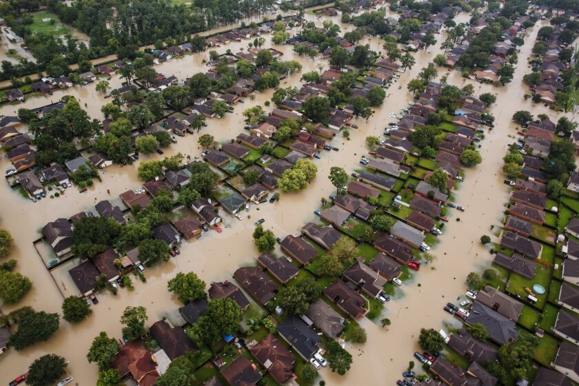 Residential neighborhoods in Houston sit in floodwater after water from the Addicks Reservoir was released.