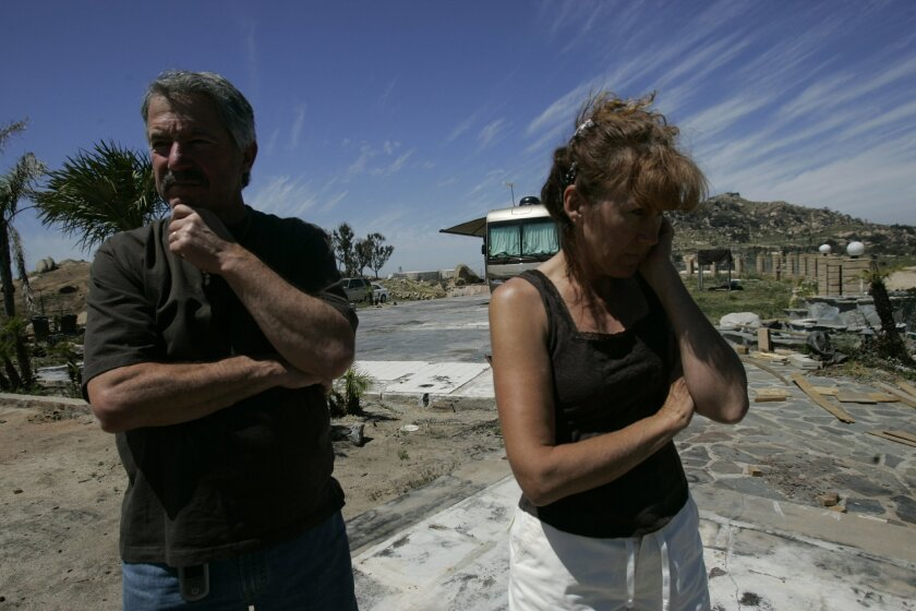 Janice and John Strizver, six months after the October 2007 wildfires, were still living in a motor home on the site of their burned out home in Ramona.