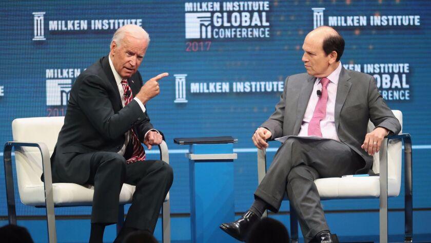 Former Vice President Joe Biden, left, and Michael Milken, chairman of the Milken Institute, during the Milken Institute Global Conference 2017 at The Beverly Hilton Hotel on May 3, 2017 in Beverly Hills.