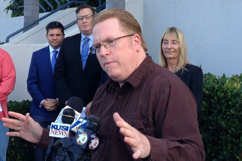 In this 2015 file photo, attorney Cory Briggs outlined a wide-ranging ballot initiative that would raise San Diego's hotel room tax to 15.5 percent while creating a mechanism to expand the convention center, build a stadium downtown and raise money for tourism promotion. The initiative is Measure D