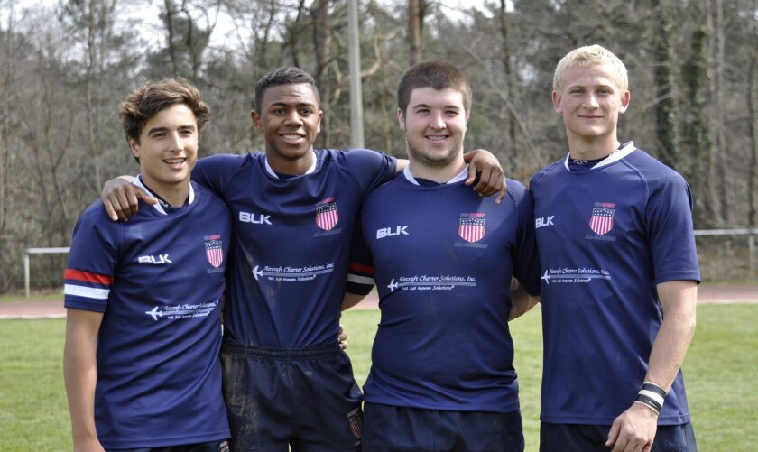 Four San Diego County athletes represented the United States in international rugby competition earlier this month. The boys, members of the Under 17 Boys High School All-American team, are, L-R: Patrick Madden, a sophomore at University City High School, Ryan James, a sophomore at Cathedral Catholic, Owen Duvall, a junior at Cathedral Catholic, and Ian Crilly, a senior at Fallbrook High School.