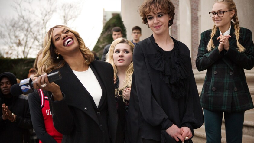 """Laverne Cox, from left, Abigail Breslin, Alex Lawther and AnnaSophia Robb in the movie """"Freak Show."""""""