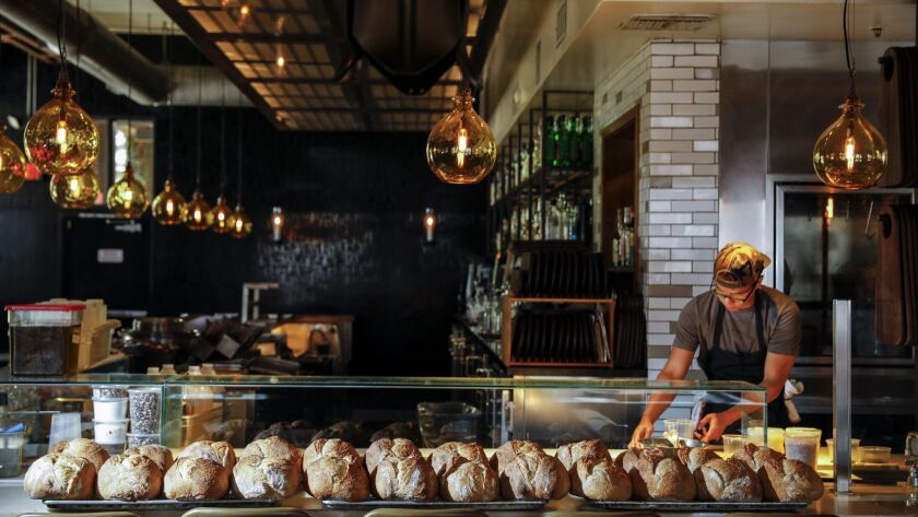 LOS ANGELES, CA --SEPTEMBER 22, 2018 --Fresh bread, made before opening, at restaurant Bestia, in th