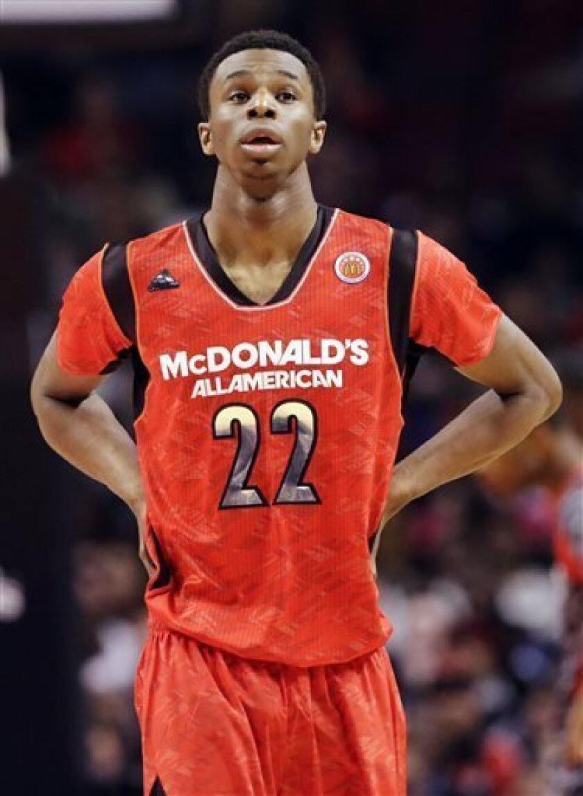 McDonald's East All-American's Andrew Wiggins looks up during the first half of the McDonald's All-American boys basketball game in Chicago, Wednesday, April 3, 2013. (AP Photo/Nam Y. Huh)