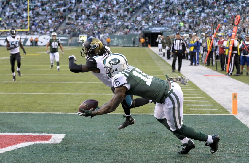 New York Jets wide receiver Brandon Marshall (15) makes a catch against Jacksonville Jaguars cornerback Davon House (31) for a touchdown during the fourth quarter of an NFL football game, Sunday, Nov. 8, 2015, in East Rutherford, N.J. (AP Photo/Bill Kostroun)