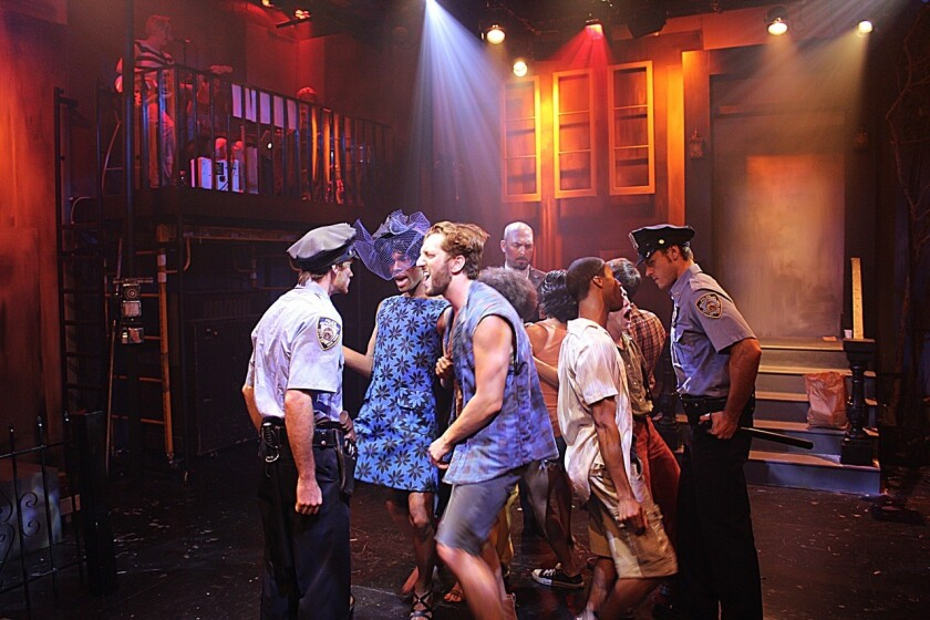 """The cast of """"Hit the Wall"""" at the Davidson/Valentini Theatre."""