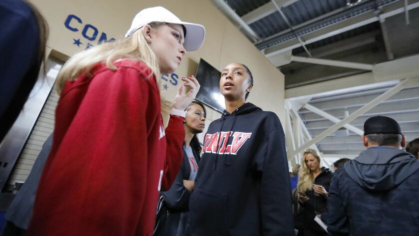 SAN DIEGO, CA 11/14/2018: Linsi Hawkins, left, who goes to Mission Hills High School and will attend