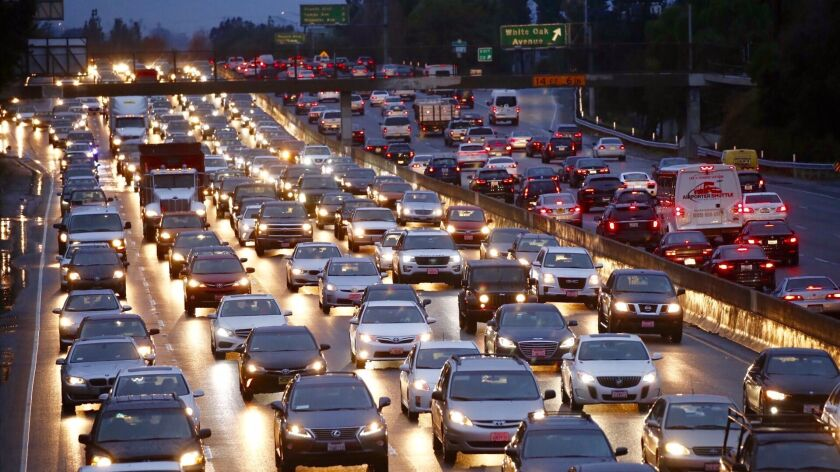 Traffic slows to at a crawl on the 101 freeway in Los Angeles on Jan. 9.