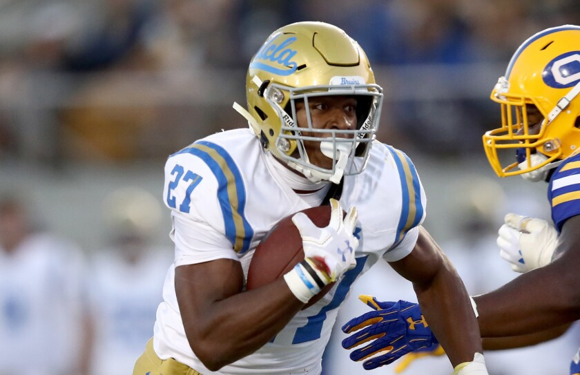 UCLA running back Joshua Kelley carries the ball during a game against Cal in October.