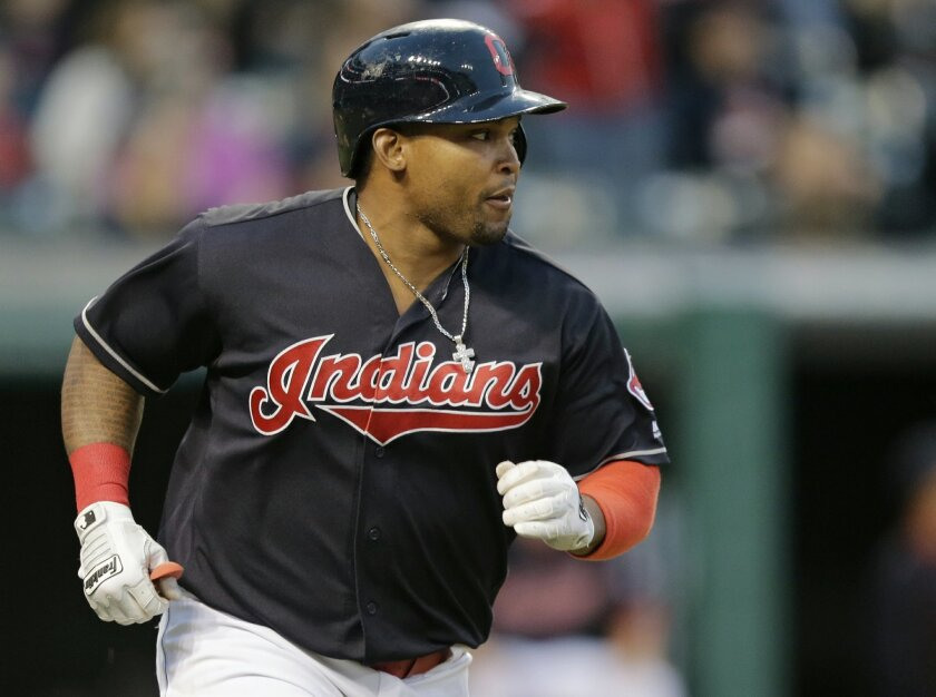 FILE - In this May 16, 2016, file photo, Cleveland Indians' Marlon Byrd runs the bases after hitting a two-run home run off Cincinnati Reds relief pitcher Layne Somsen in the sixth inning of an interleague baseball game in Cleveland. Byrd has been suspended 162 games for testing positive a second t