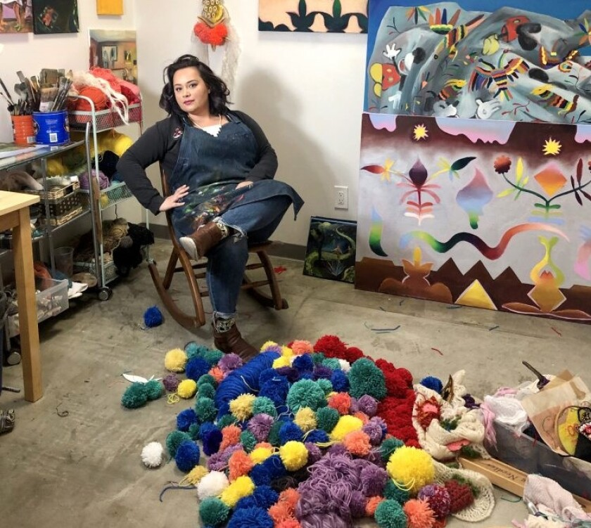 Painter and fiber artist Katie Ruiz, who lives in Normal Heights, is asking the public's help during quarantine to make pom-poms for an installation project at the Oceanside Museum of Art.