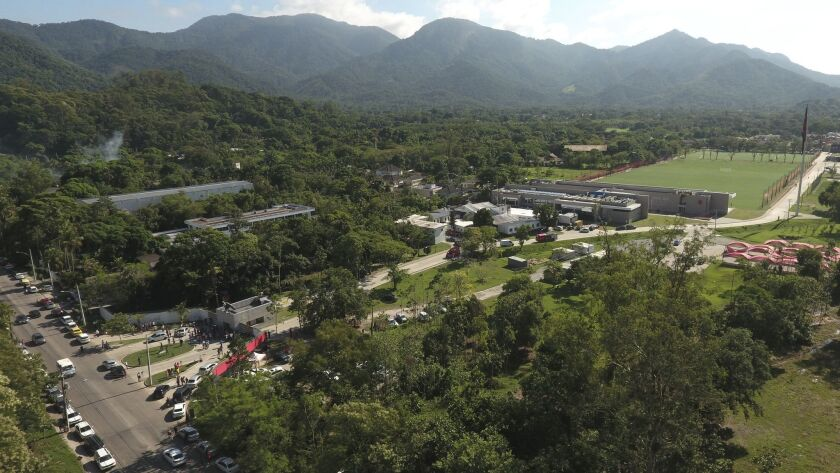 An aerial view looks over the Flamengo soccer club training complex where an early morning fire left