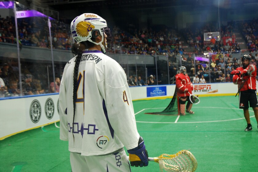 This Sept. 18, 2015 photo shows Lyle Thompson, Onondaga, of the Iroquois Nationals during the 2015 World Indoor Lacrosse Championships on the Onondaga Nation Reservation just south of Syracuse, New York. The Ireland Lacrosse team recently bowed out of the sport's top international tournament to open up a spot for the Iroquois Nationals. It's the latest in a series of gestures between the country and U.S. tribes that date back to 1847, when Choctaw leaders gave $170 to the Irish as their country battled a potato famine that resulted in the death of tens of thousands. Historians estimate today's value of the amount at roughly $5,000. (Jourdan Bennett-Begaye, Indian Country Today via AP)