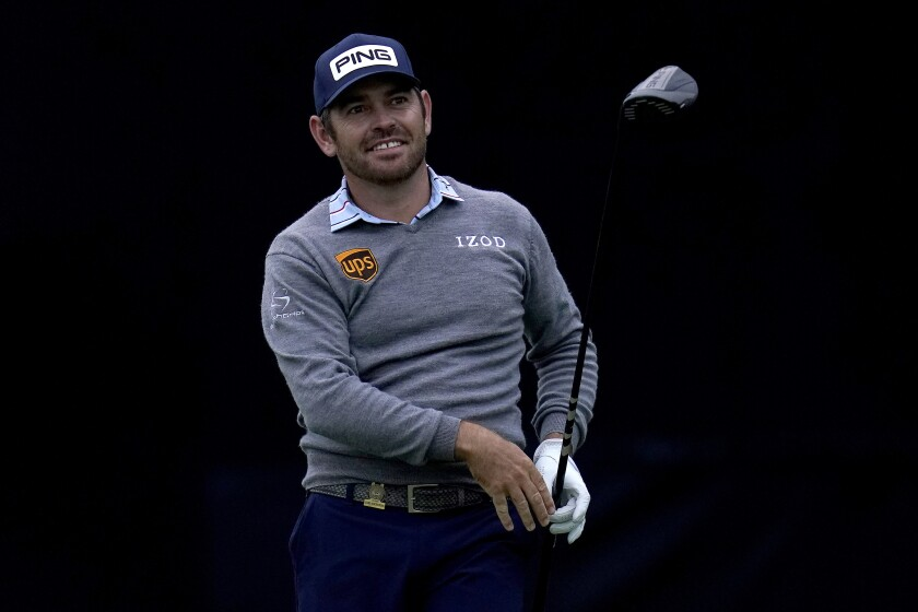 Louis Oosthuizen plays his shot from the seventh tee during the first round of the U.S. Open.