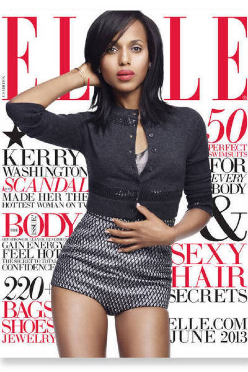 """Scandal"" star Kerry Washington graces the cover of next month's Elle magazine."